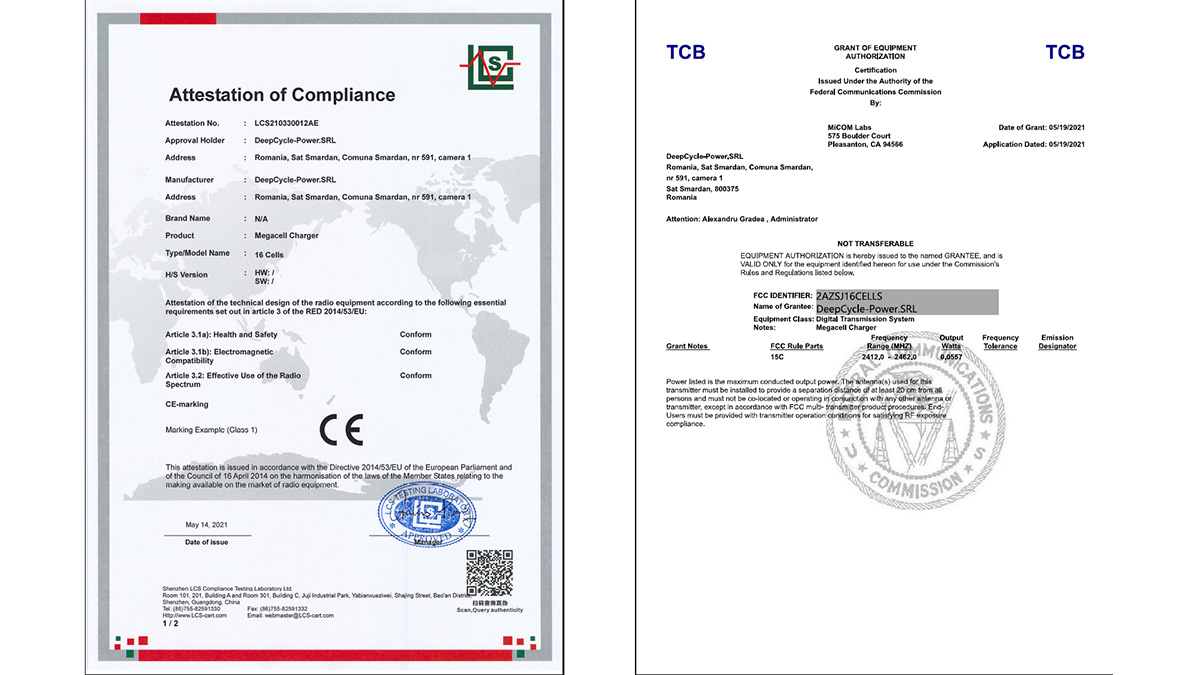Megacell Charger FCC and CE Certification